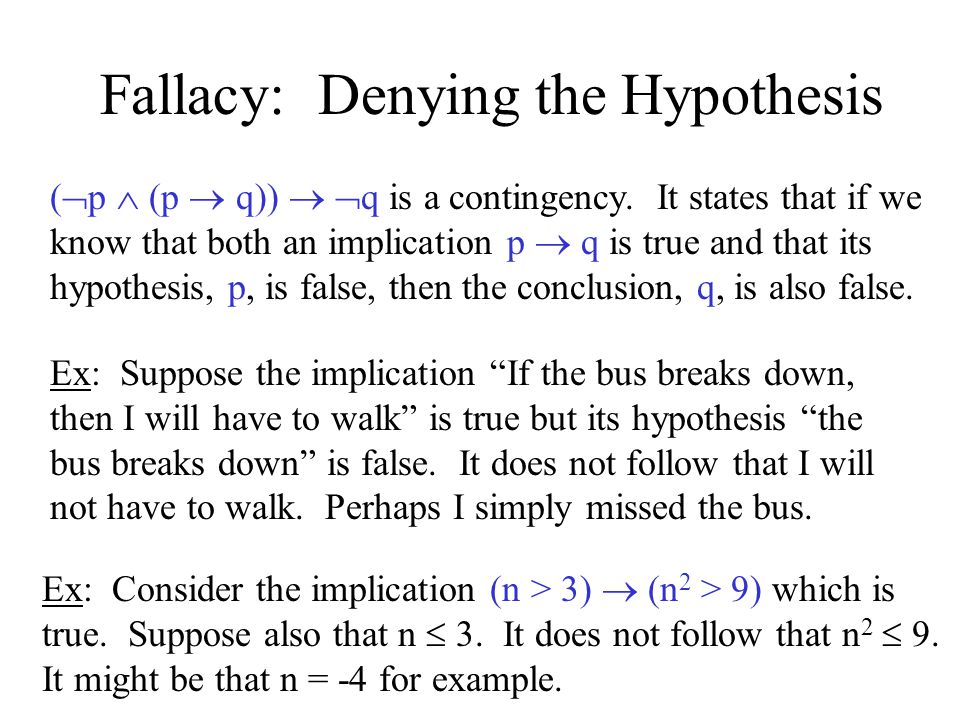 Fallacy: Denying the Hypothesis