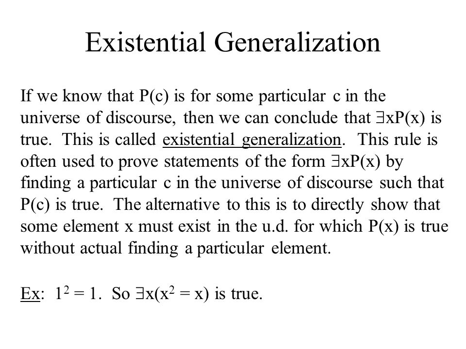 Existential Generalization