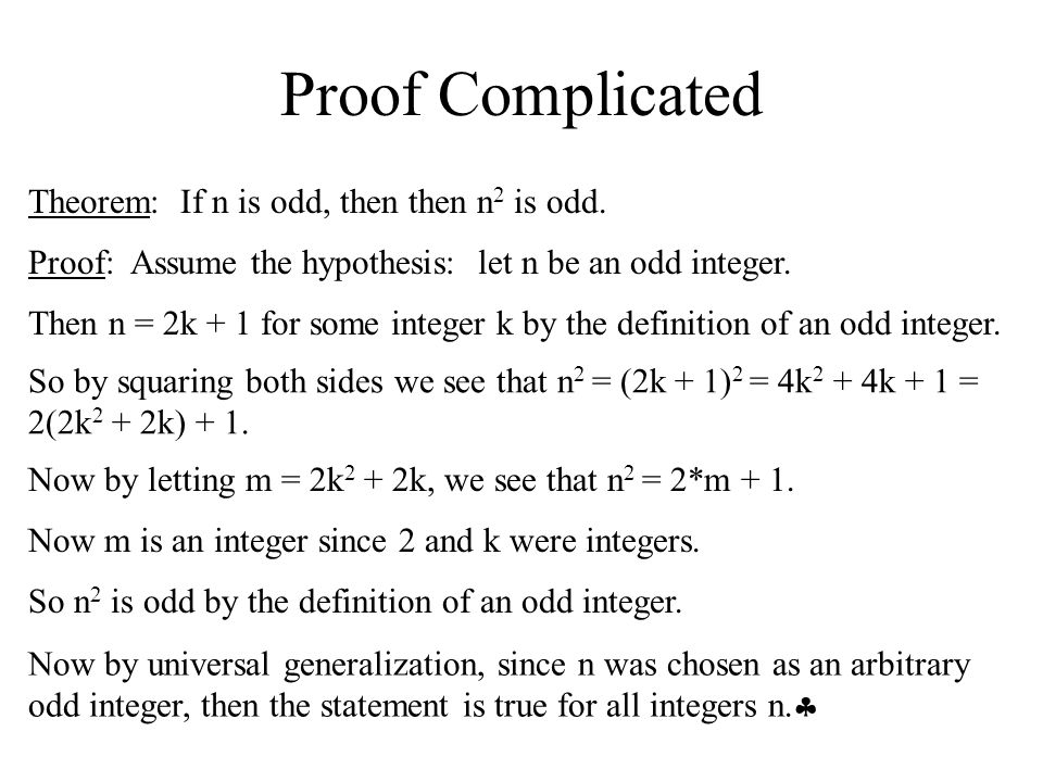 Proof Complicated Theorem: If n is odd, then then n2 is odd.
