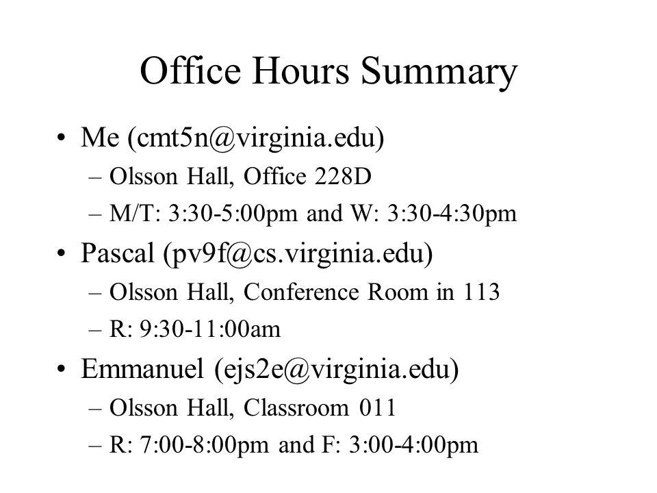 Office Hours Summary Me (cmt5n@virginia.edu)