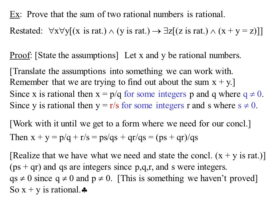 Ex: Prove that the sum of two rational numbers is rational.