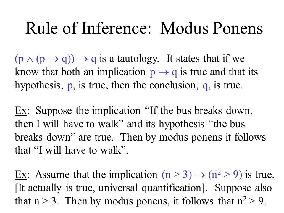 Rule of Inference: Modus Ponens