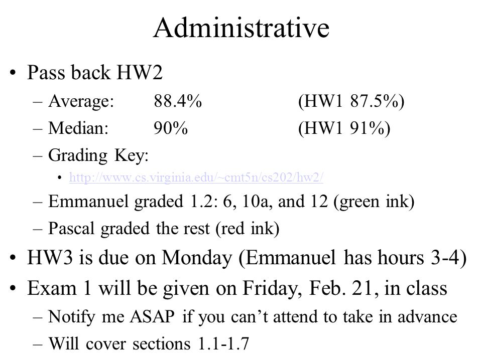 Administrative Pass back HW2
