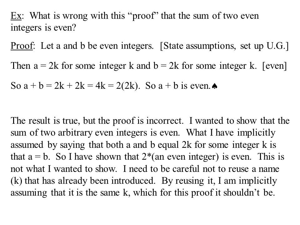 Ex: What is wrong with this proof that the sum of two even integers is even