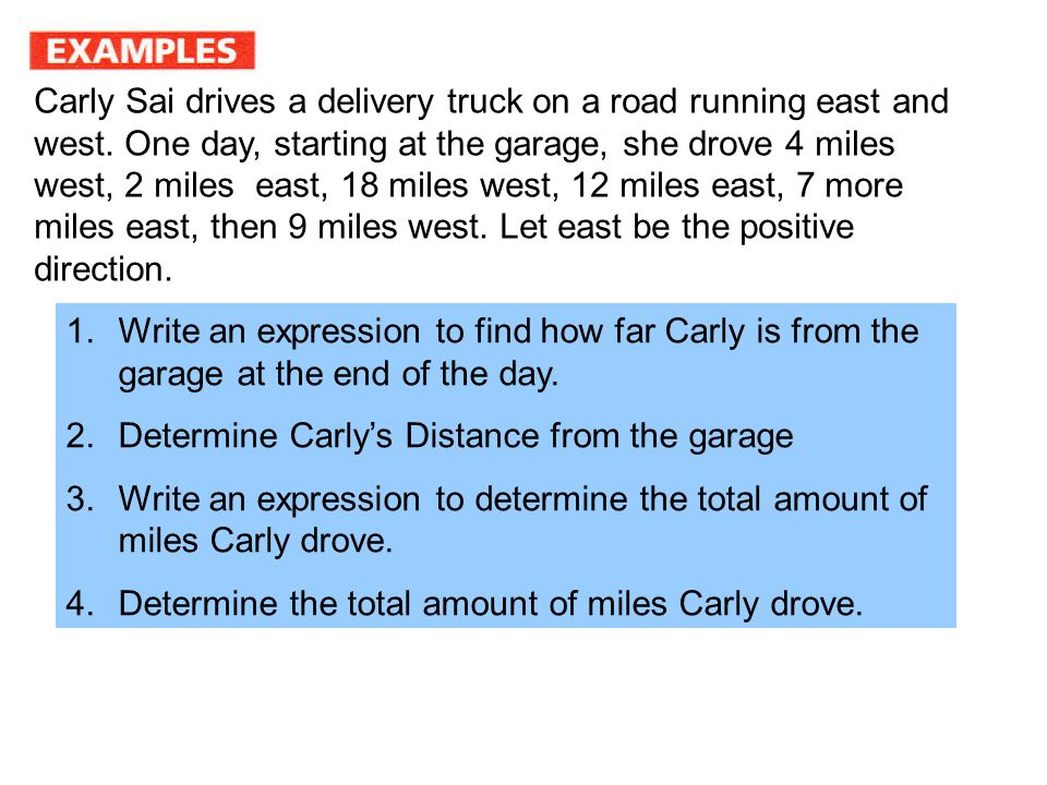 Carly Sai drives a delivery truck on a road running east and west