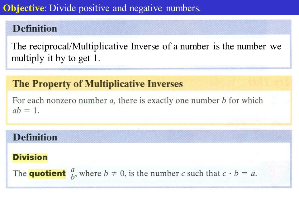 Division Defined Objective: Divide positive and negative numbers.