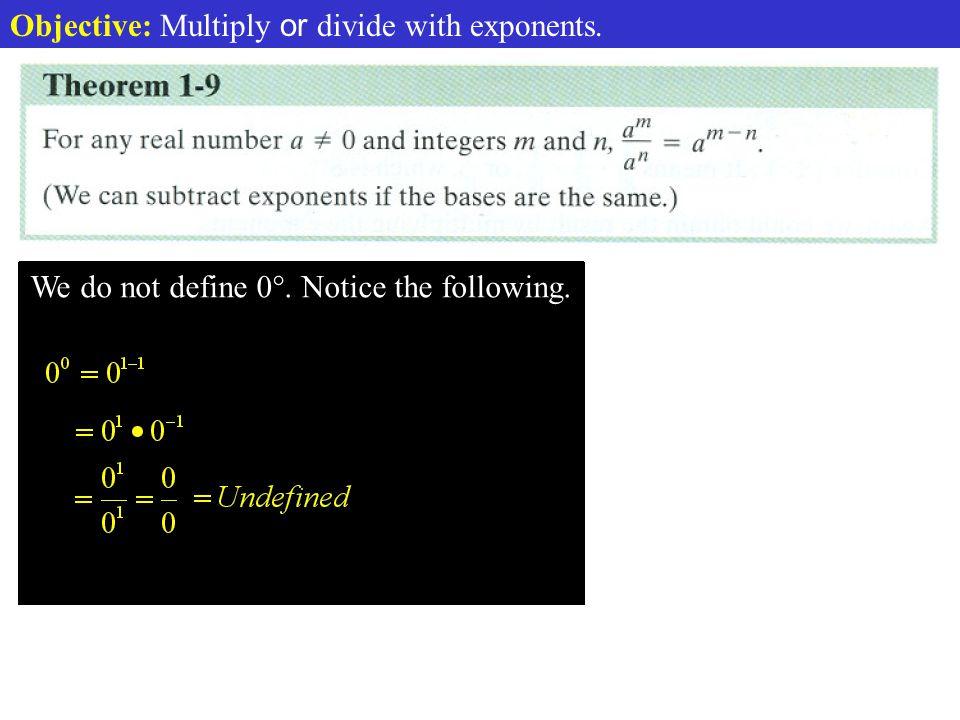 Def. Dividing Exponents