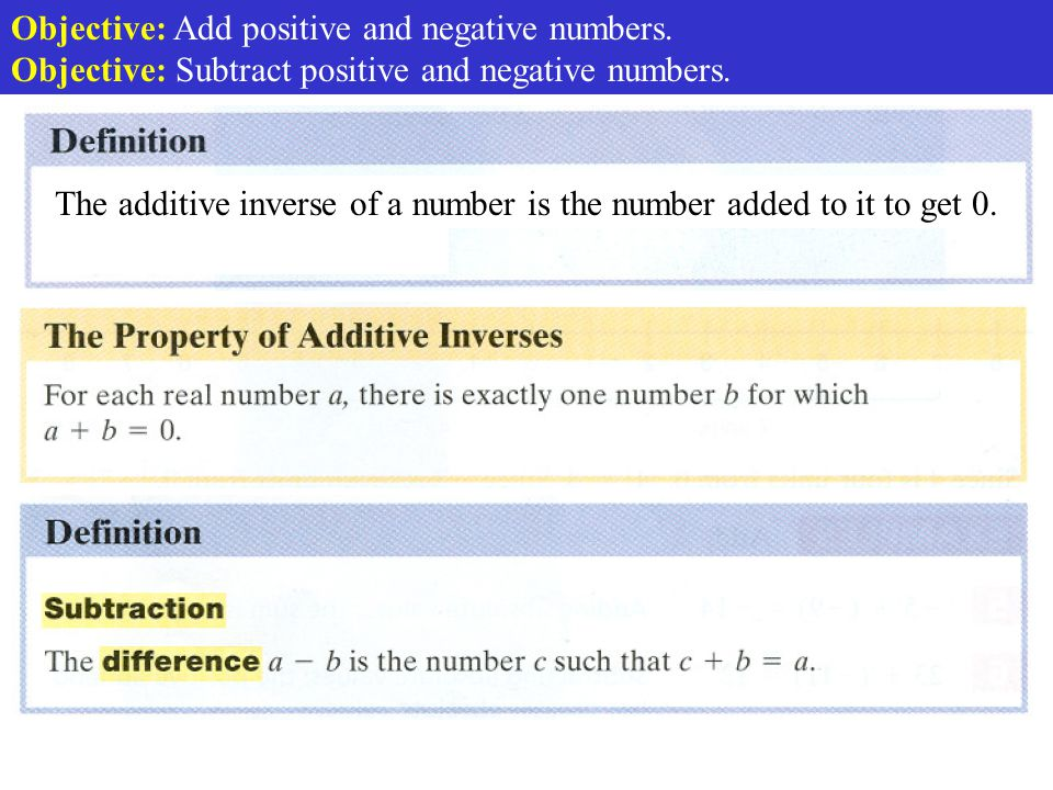 The additive inverse of a number is the number added to it to get 0.