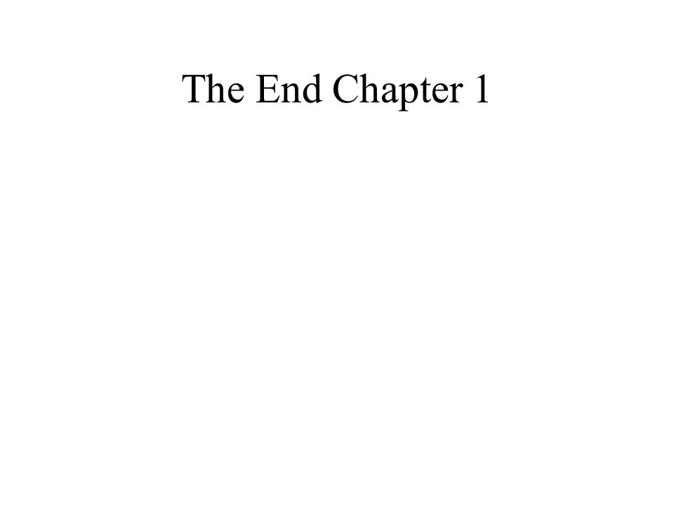 The End Chapter 1