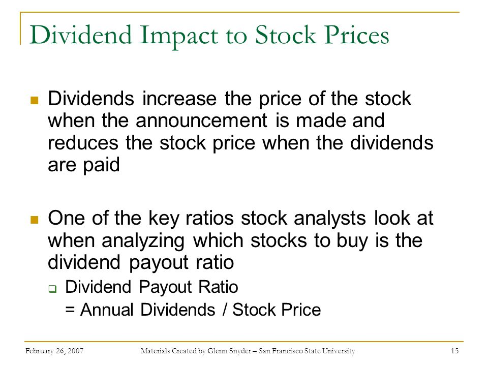 Dividend Impact to Stock Prices