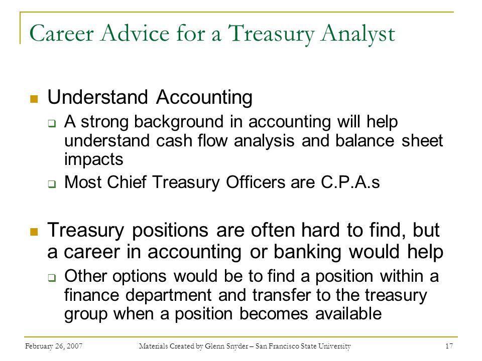 Career Advice for a Treasury Analyst