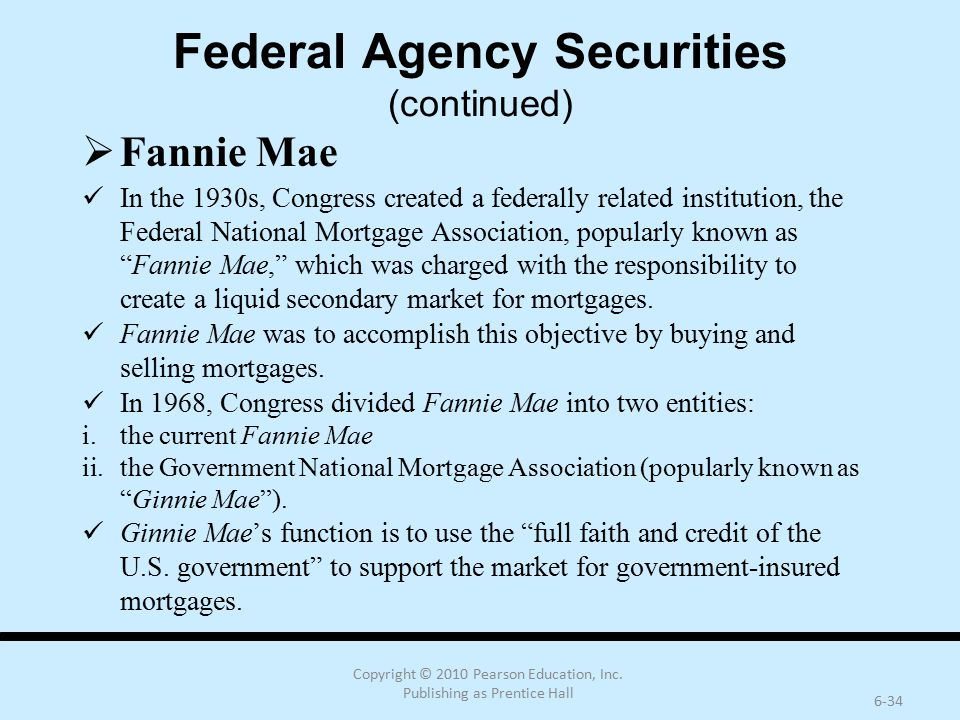 Federal Agency Securities (continued)