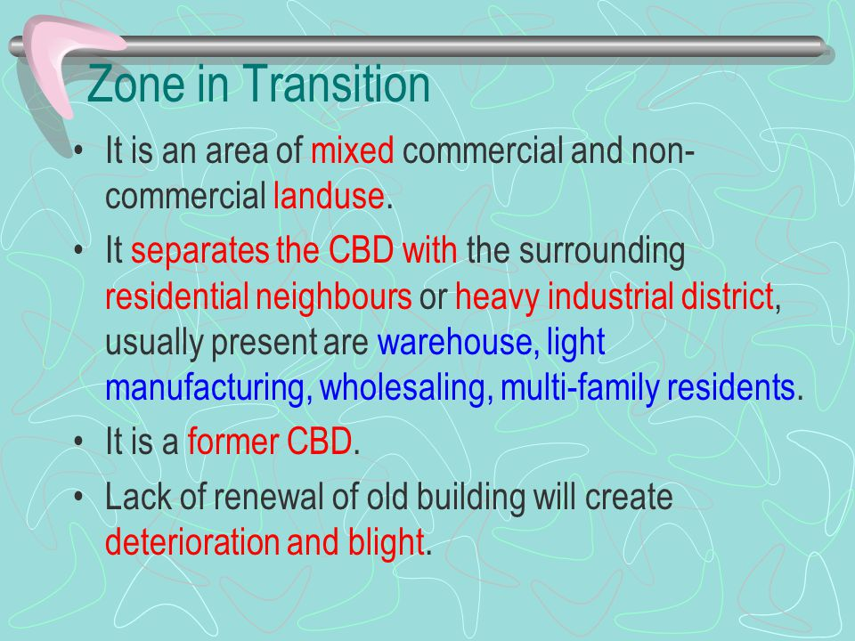 Zone in Transition It is an area of mixed commercial and non-commercial landuse.