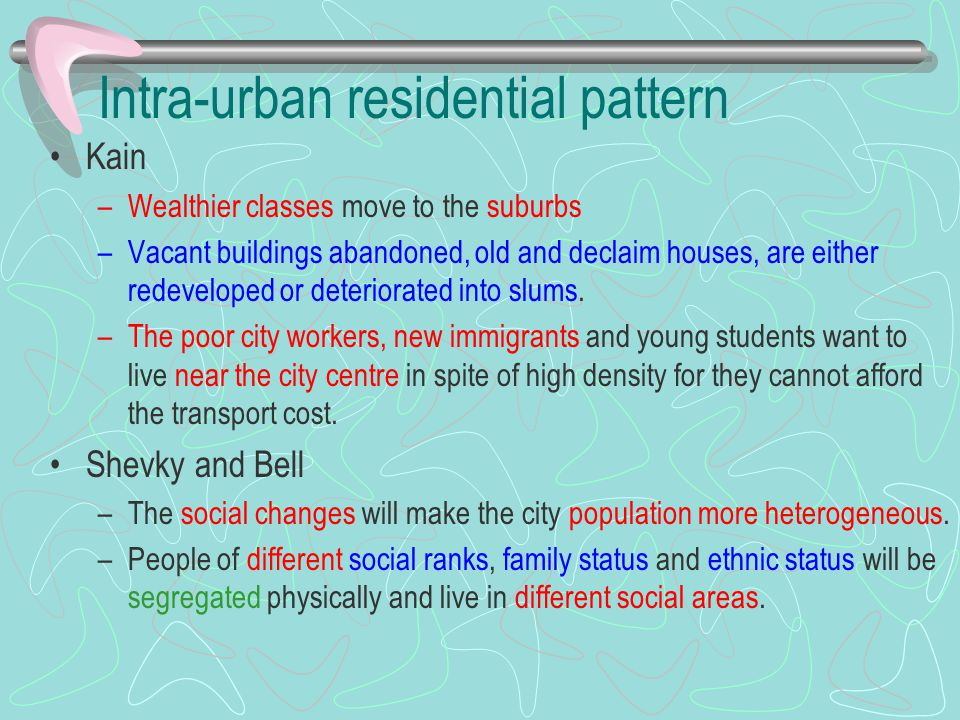 Intra-urban residential pattern