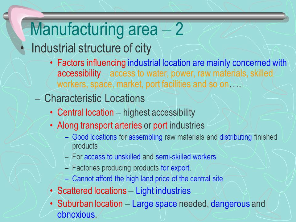 Manufacturing area – 2 Industrial structure of city