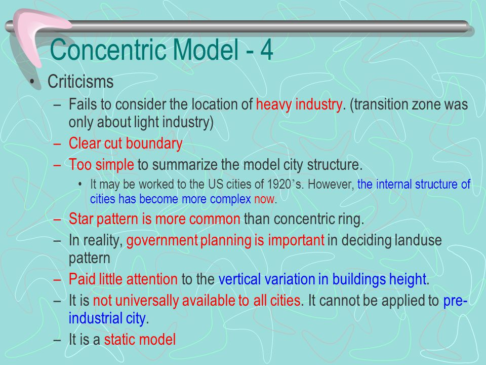 Concentric Model - 4 Criticisms