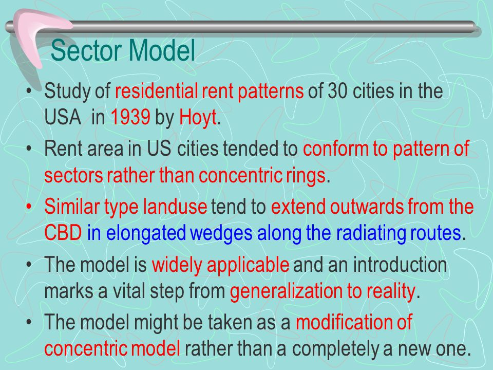 Sector Model Study of residential rent patterns of 30 cities in the USA in 1939 by Hoyt.