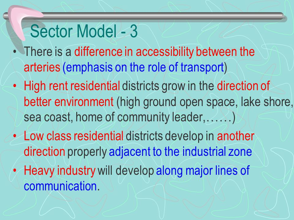Sector Model - 3 There is a difference in accessibility between the arteries (emphasis on the role of transport)