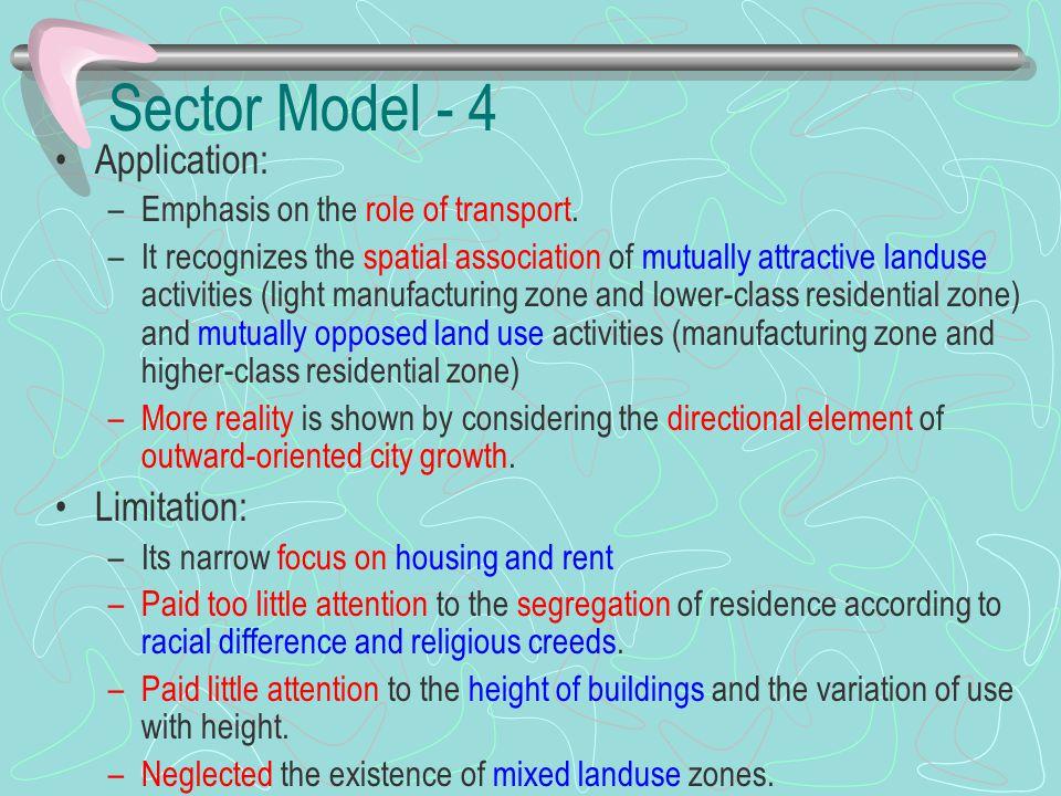 Sector Model - 4 Application: Limitation:
