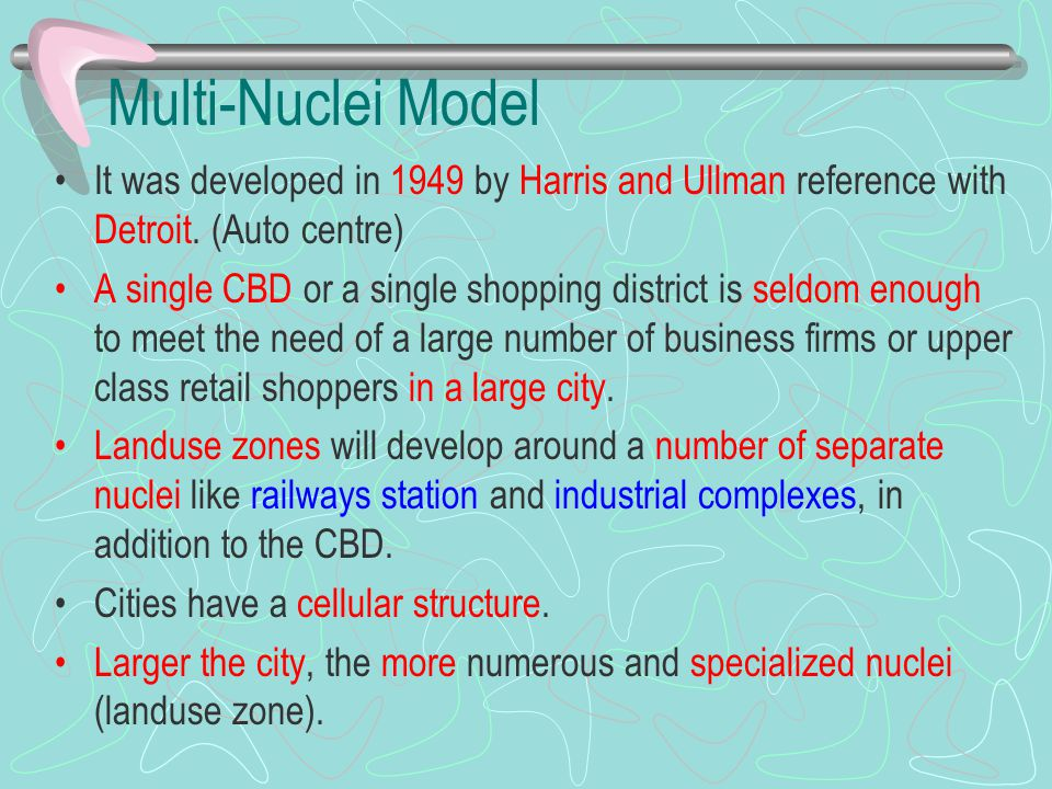 Multi-Nuclei Model It was developed in 1949 by Harris and Ullman reference with Detroit. (Auto centre)