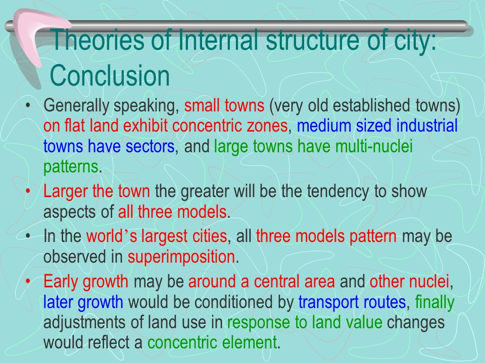 Theories of Internal structure of city: Conclusion