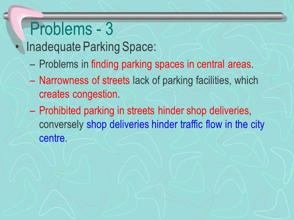 Problems - 3 Inadequate Parking Space: