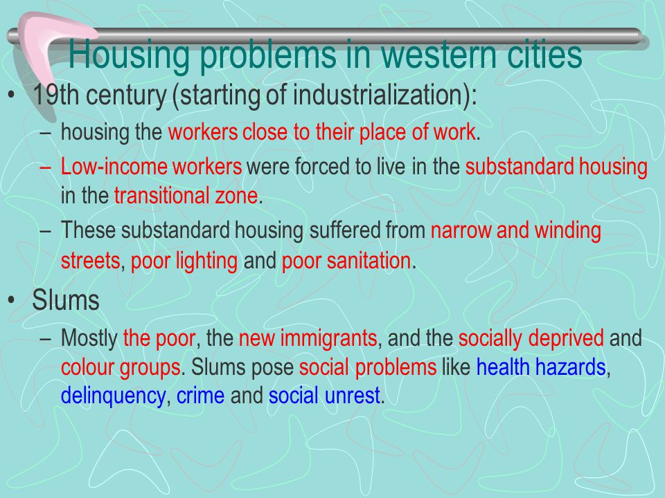 Housing problems in western cities