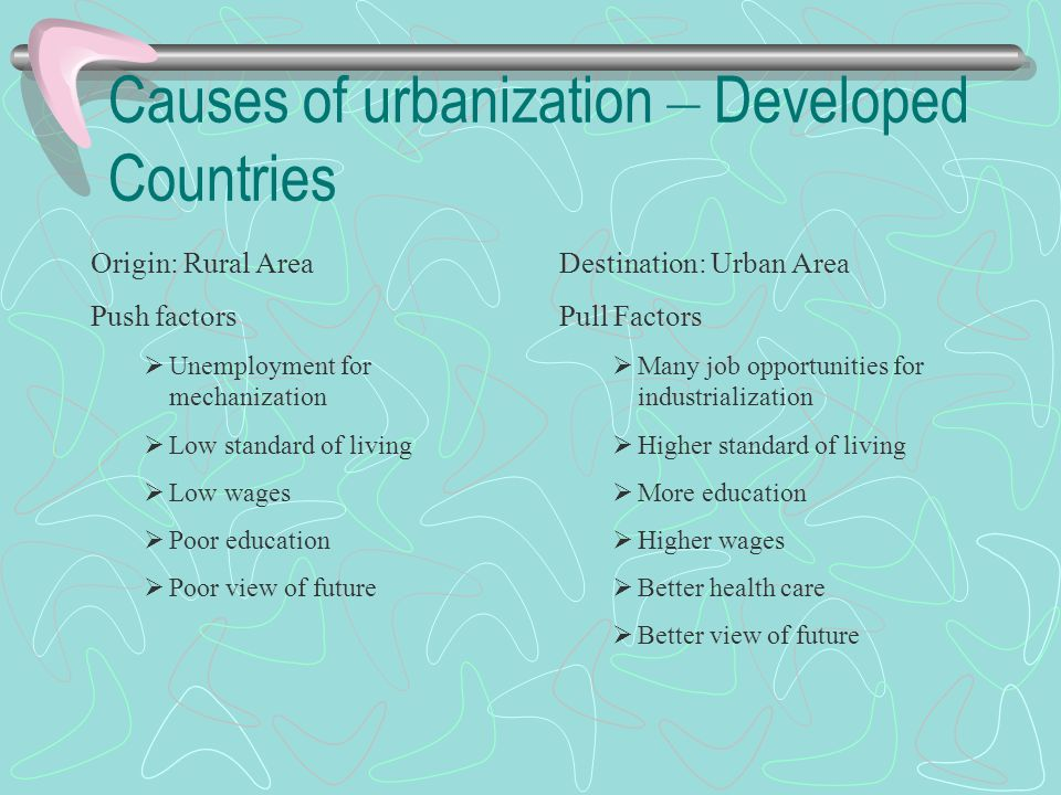 Causes of urbanization – Developed Countries