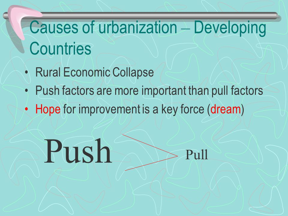 Causes of urbanization – Developing Countries