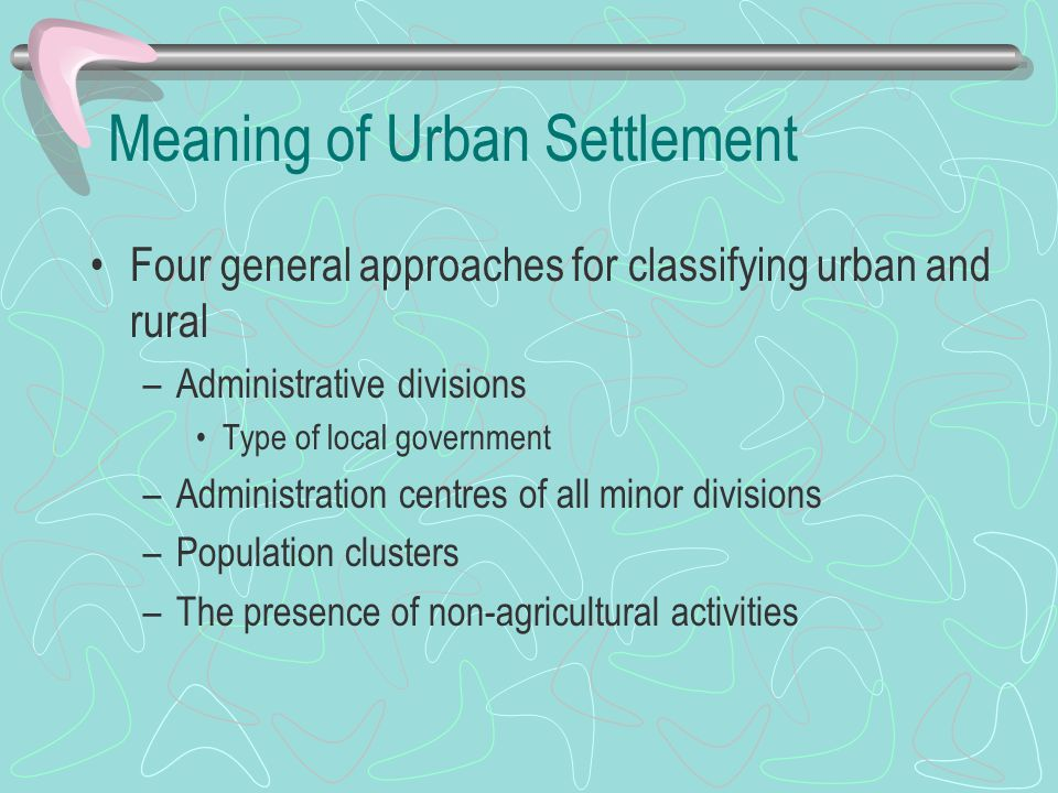 Meaning of Urban Settlement