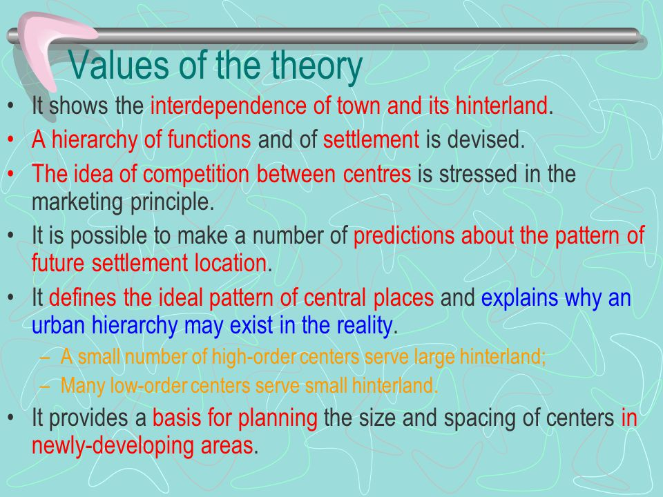Values of the theory It shows the interdependence of town and its hinterland. A hierarchy of functions and of settlement is devised.