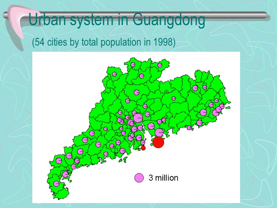 Urban system in Guangdong (54 cities by total population in 1998)