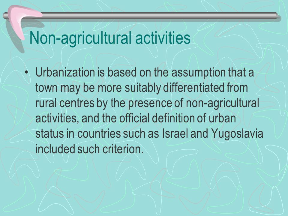 Non-agricultural activities