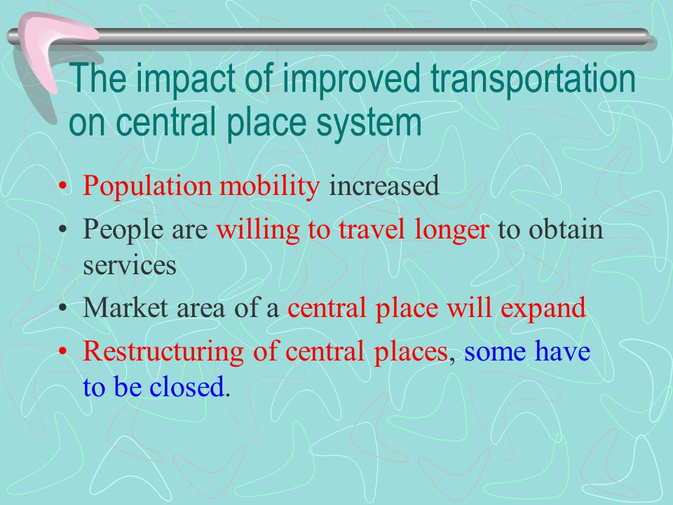 The impact of improved transportation on central place system