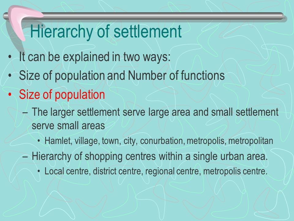 Hierarchy of settlement