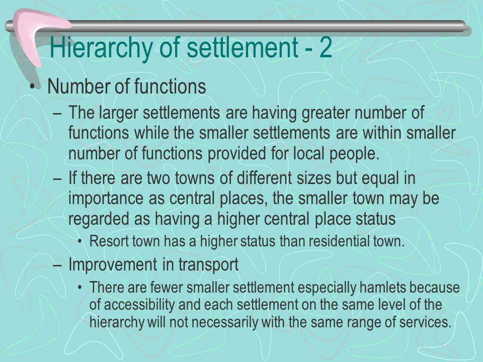 Hierarchy of settlement - 2
