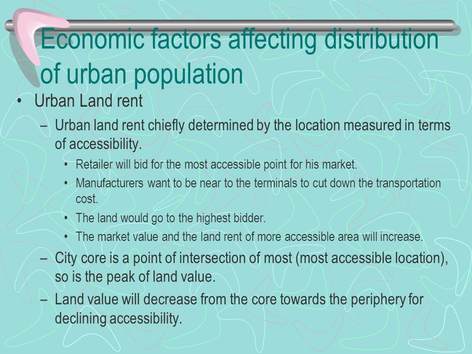 Economic factors affecting distribution of urban population