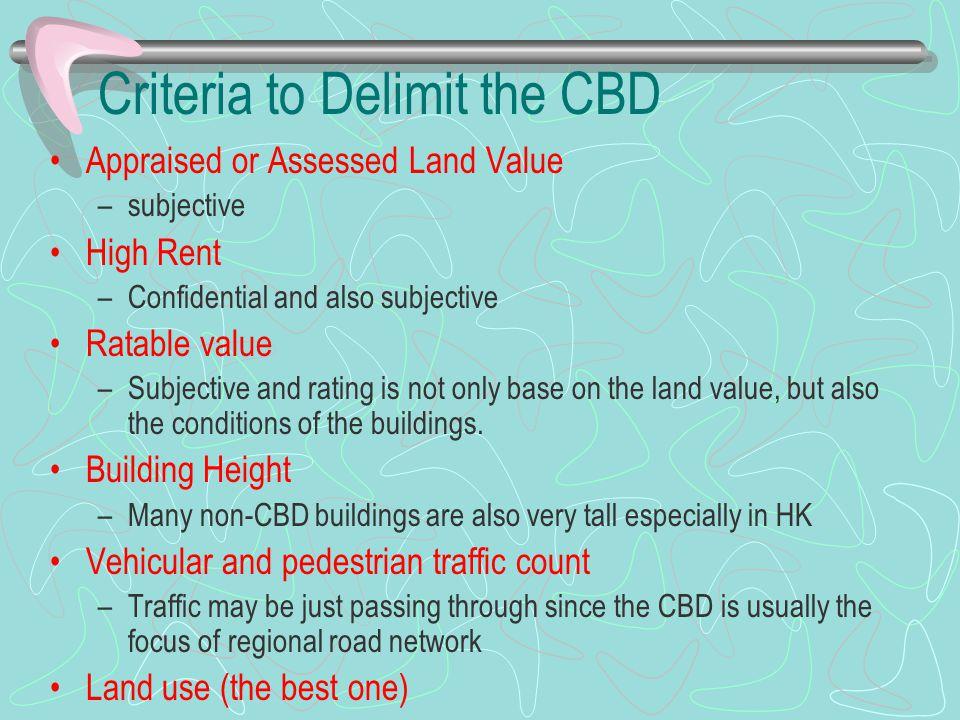 Criteria to Delimit the CBD