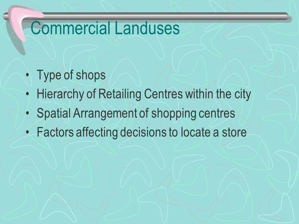 Commercial Landuses Type of shops