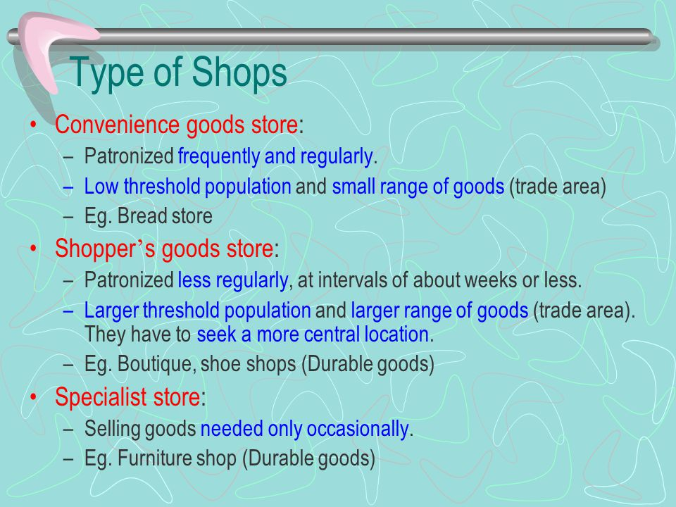 Type of Shops Convenience goods store: Shopper's goods store: