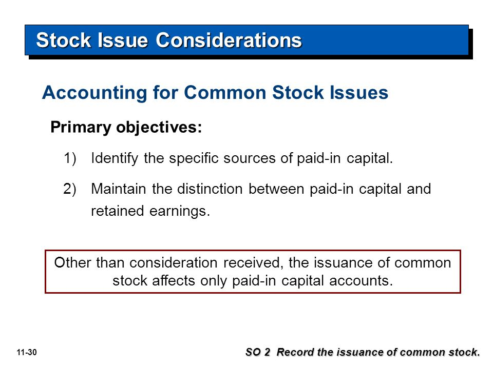 Stock Issue Considerations