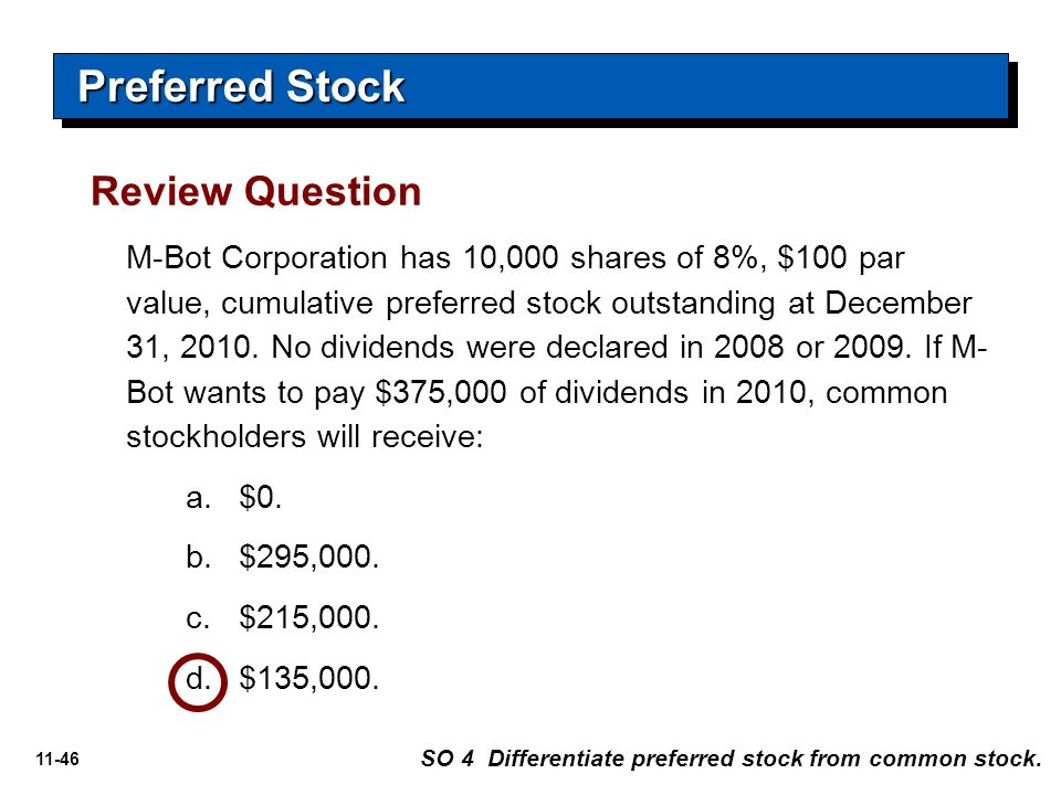 Preferred Stock Review Question