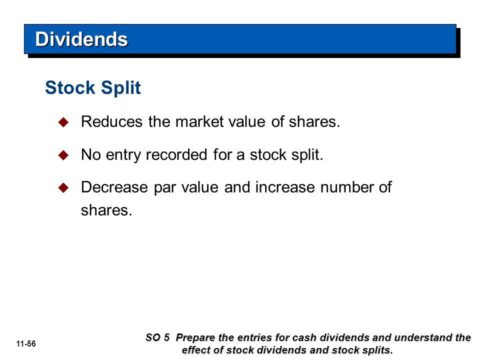 Dividends Stock Split Reduces the market value of shares.