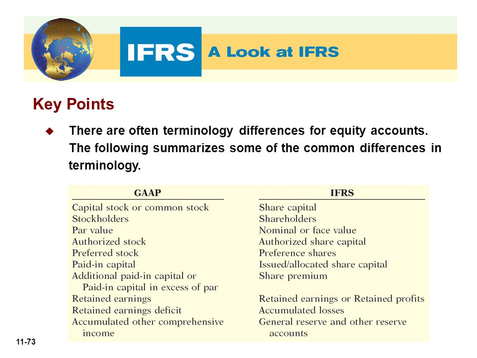 Key Points There are often terminology differences for equity accounts.