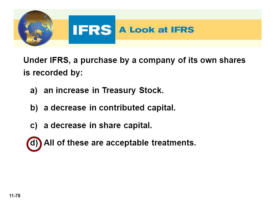 Under IFRS, a purchase by a company of its own shares is recorded by: