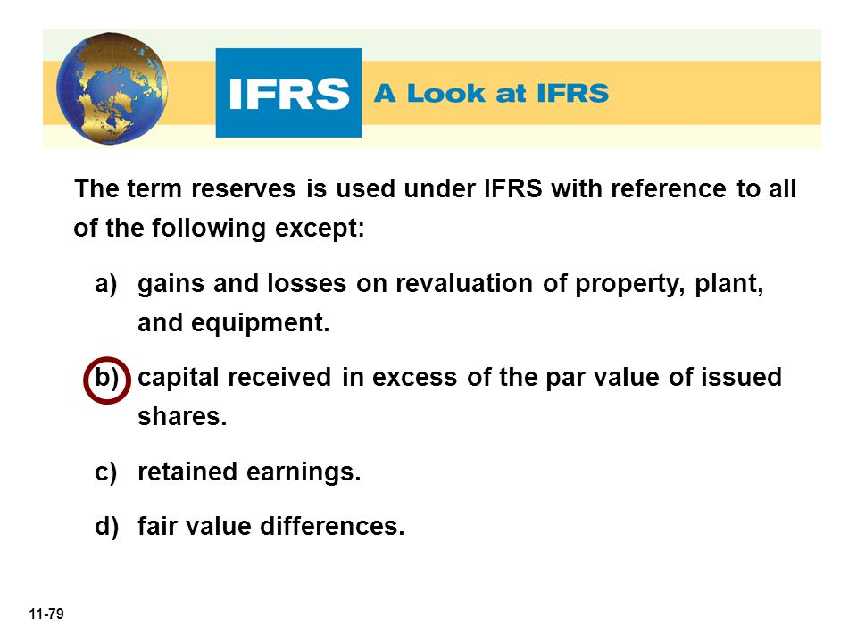 The term reserves is used under IFRS with reference to all of the following except: