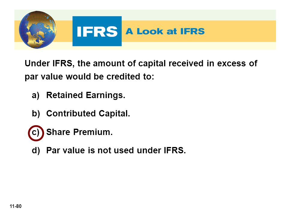 Under IFRS, the amount of capital received in excess of par value would be credited to: