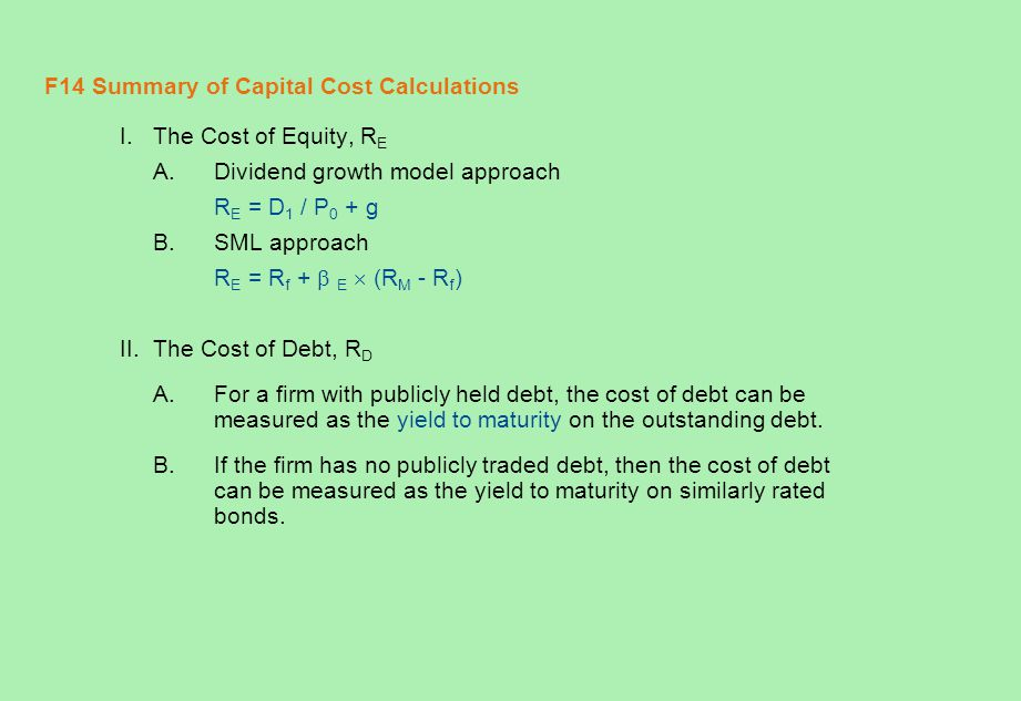 F14 Summary of Capital Cost Calculations