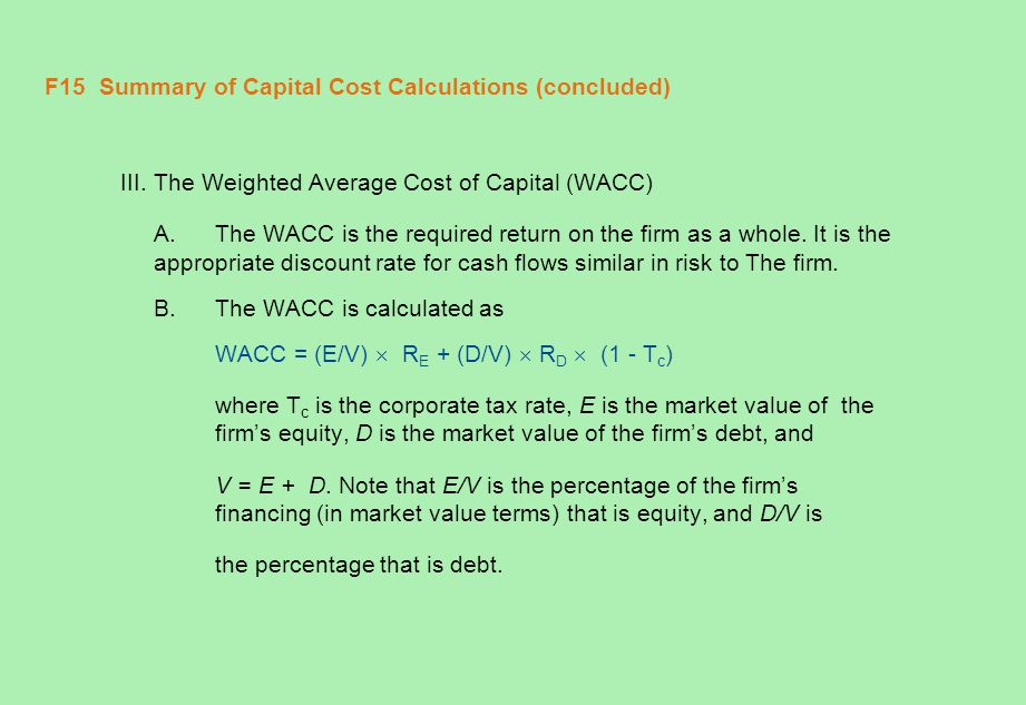 F15 Summary of Capital Cost Calculations (concluded)