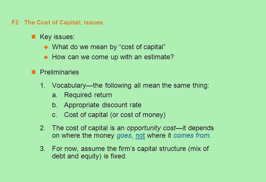 F2 The Cost of Capital: Issues